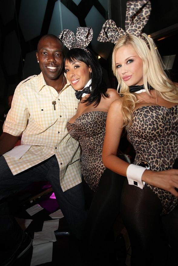 Terrell Owens and Playboy Bunnies Lagracella Omran, Jessica Hinton