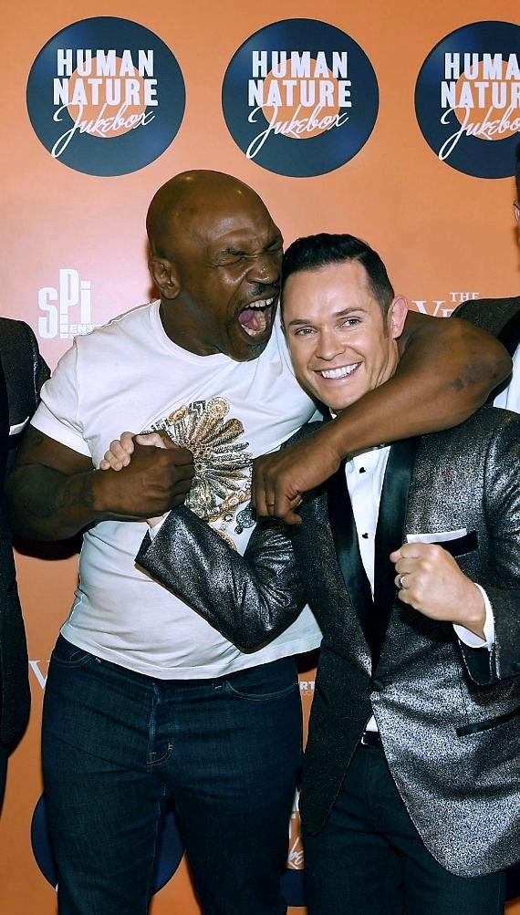 Mike Tyson with Australian pop vocal group Human Nature