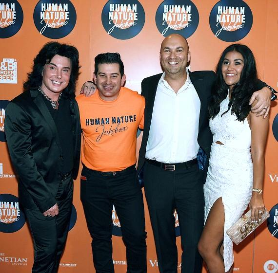 Frank Marino, Alex Schechter, Adam Steck and Bri Steck arrive at the launch of Human Nature's new show 'Jukebox' at The Venetian Las Vegas on April 21, 2016