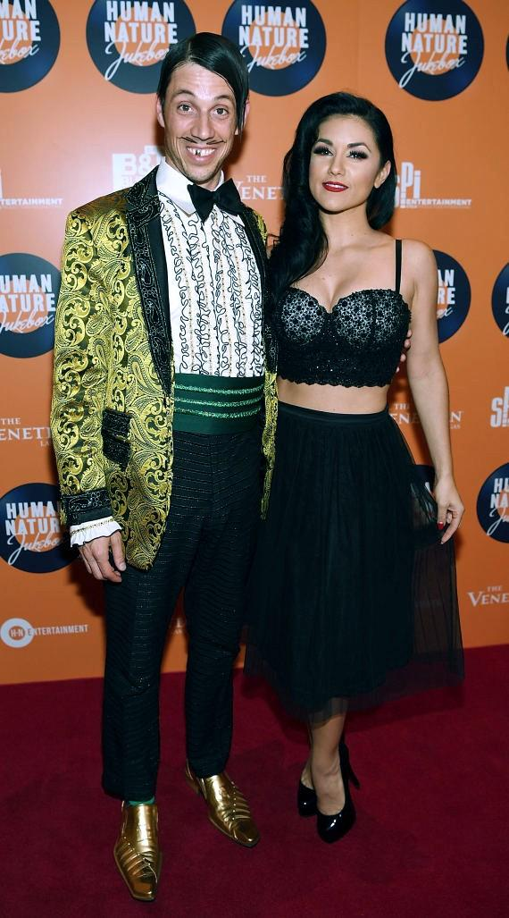 Cast members of Absenthe The Gazillionaire and Melody Sweets arrive at the launch of Human Nature's new show 'Jukebox' at The Venetian Las Vegas