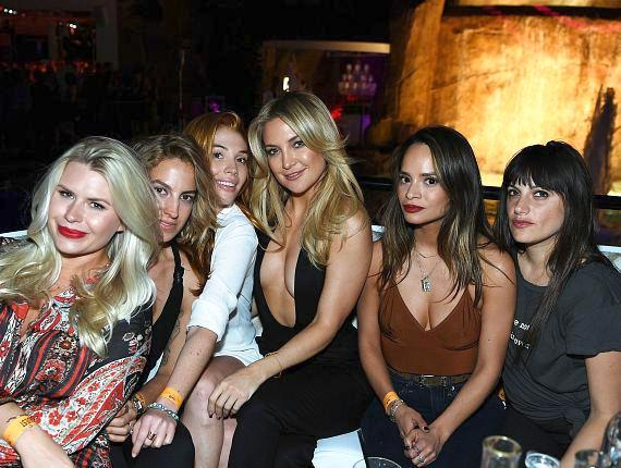 Actress Kate Hudson (3rd from R) attends the grand opening of Intrigue nightclub at Wynn Las Vegas on April 29, 2016 in Las Vegas, Nevada
