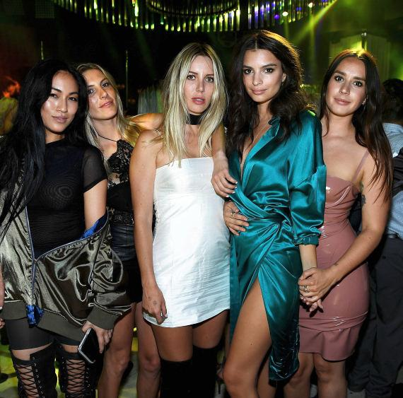 Emily Ratajkowski (2nd from R) celebrates her birthday with friends at Intrigue Nightclub at Wynn Las Vegas
