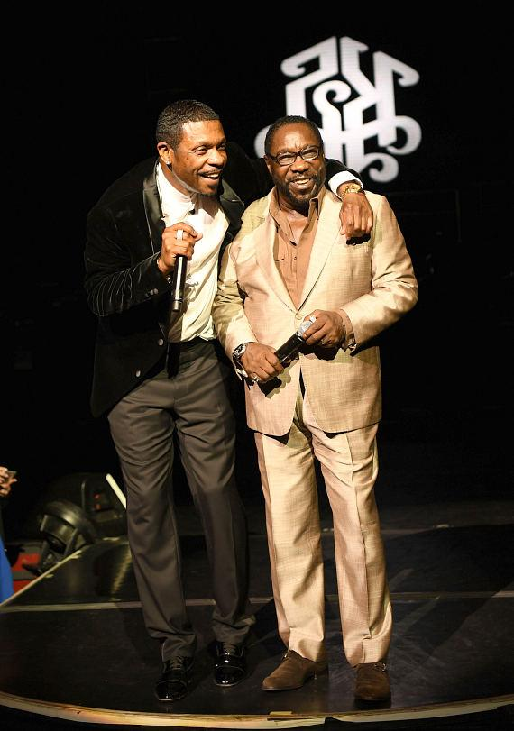 Keith Sweat (L) and Eddie Levert (R) perform at the opening night of 'Keith Sweat: Last Forever' at the Flamingo Las Vegas