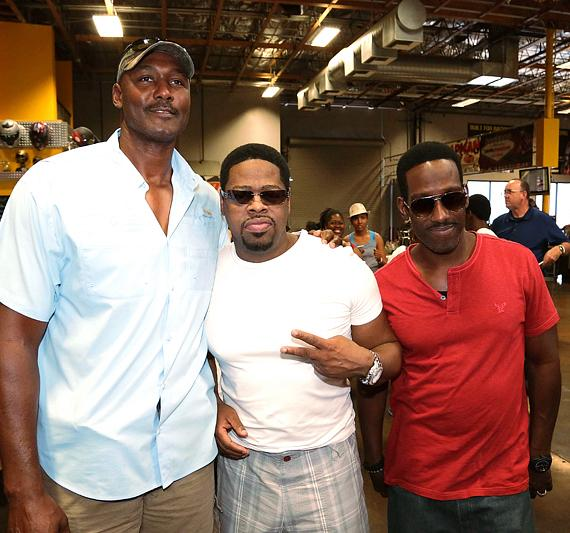 "NBA Hall of Famer Karl ""The Mailman"" Malone with Nathan Morris and Shawn Stockman at Pole Position in Las Vegas"