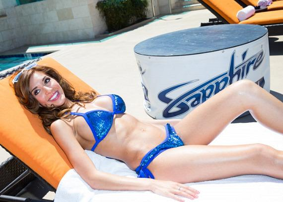 Farrah Abraham on lounge chair at Sapphire Pool & Dayclub in Las Vegas
