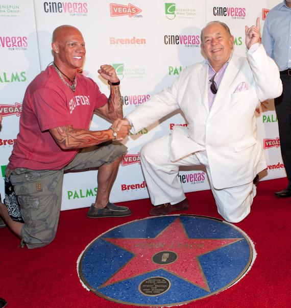 Johnny Brenden and Robin Leach Brenden Celebrity Star presentation