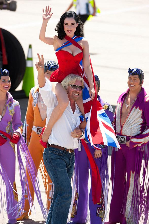 Sir Richard Branson and Dita Von Teese Celebrate 10 years of Virgin Flights to Vegas