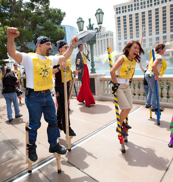 Cirque du Soleil 25th Anniversary stilt walk at Bellagio