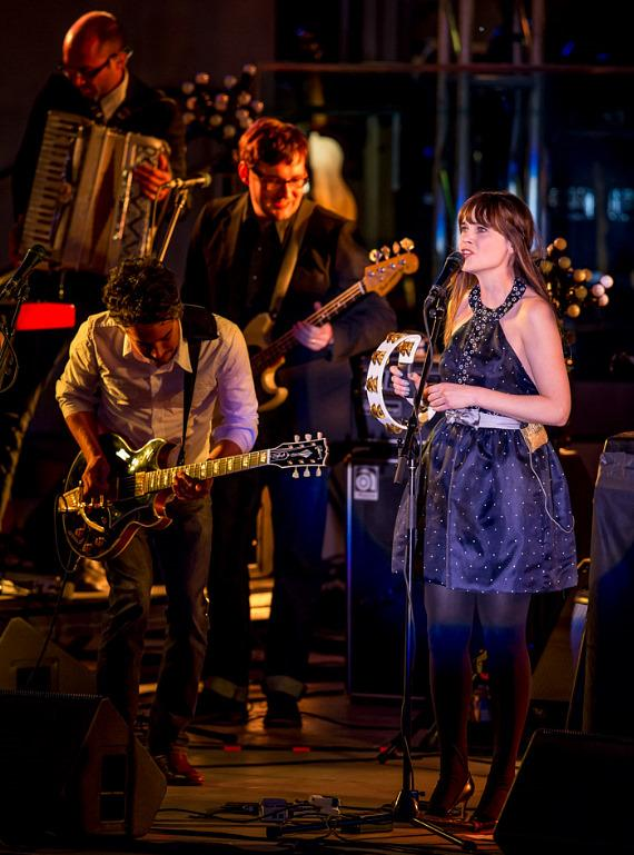 Zooey Deschanel and Matt Ward perform as She & Him at Boulevard Pool at The Cosmopolitan of Las Vegas