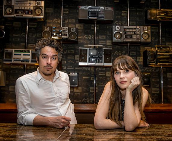 Matt Ward and Zooey Deschanel backstage at Boulevard Pool at The Cosmopolitan of Las Vegas