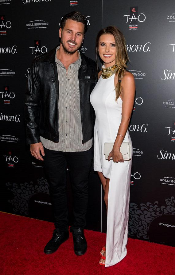 Corey Bohan and Audrina Patridge on red carpet at Simon G soiree in TAO Las Vegas