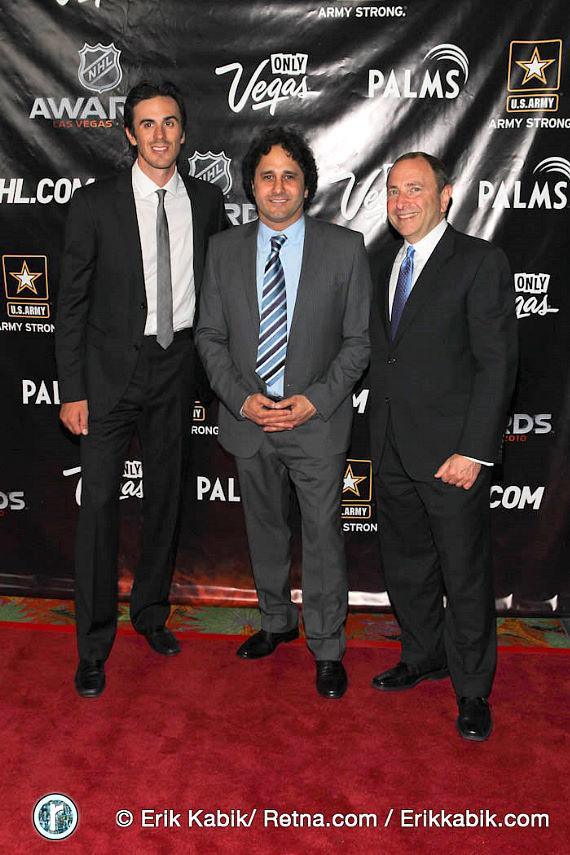 Ryan Miller, George Maloof and NHL Commissioner Gary Bettman