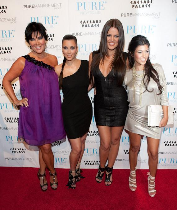 Mother Kris Jenner with Kim, Khloe and Kourtney Kardashian at PURE