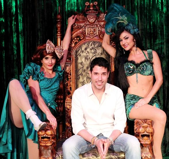 Penny Pibbets, Frankie Moreno and Melody Sweets backstage at ABSINTHE at Caesars Palace