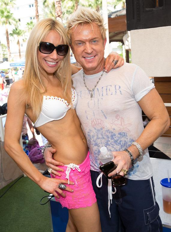 Lydia Ansel and Zowie Bowie (Chris Phillips) at Rehab Bikini Invitational at Hard Rock Hotel & Casino