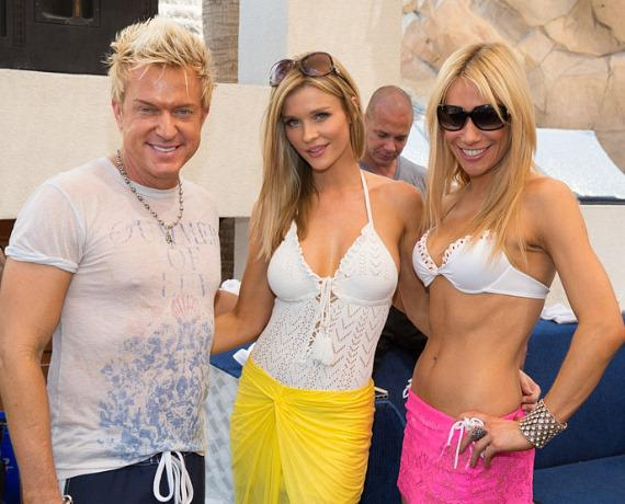 Chris Phillips, Joanna Krupa and Lydia Ansel at Rehab Bikini Invitational at Hard Rock Hotel & Casino