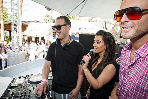 Kim Kardashian in the DJ booth with Eric D-Lux