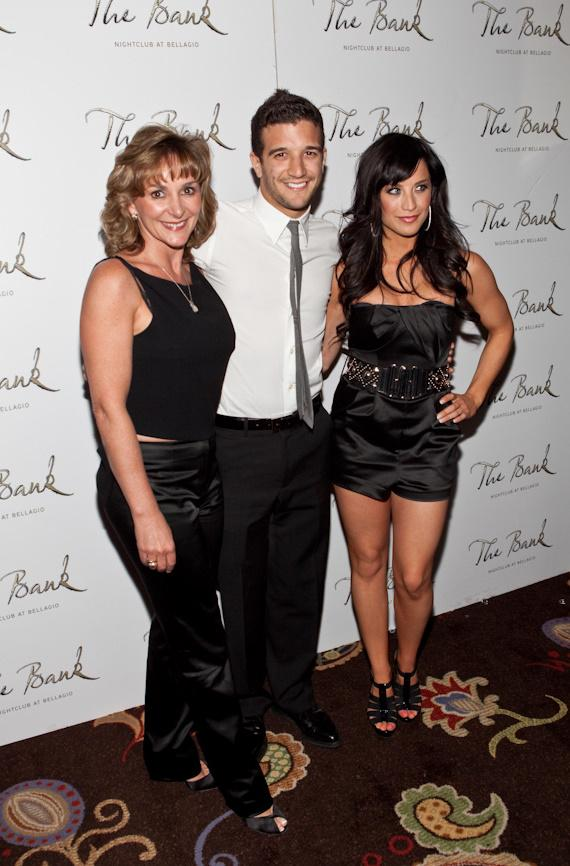 Mark's mother Shirley Ballas, Mark Ballas and his girlfriend Joanna Pacittiat at The Bank at Bellagio