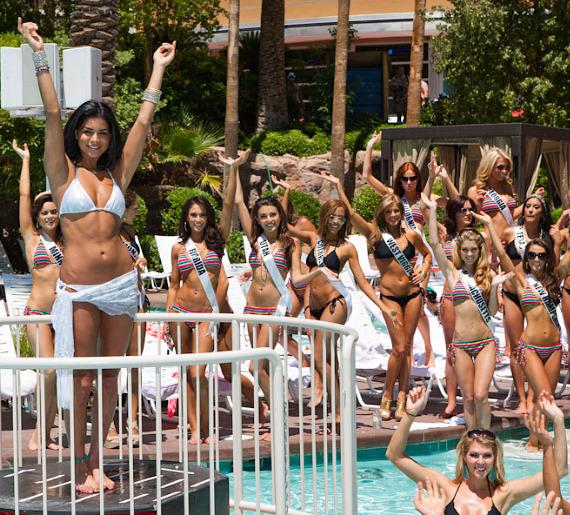 Miss USA 2010 Rima Fakih and 2011 Miss USA Contestants at Flamingo GO Pool