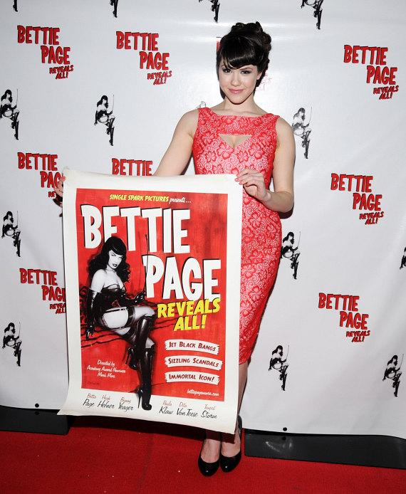 Claire Sinclair with Bettie Page movie poster