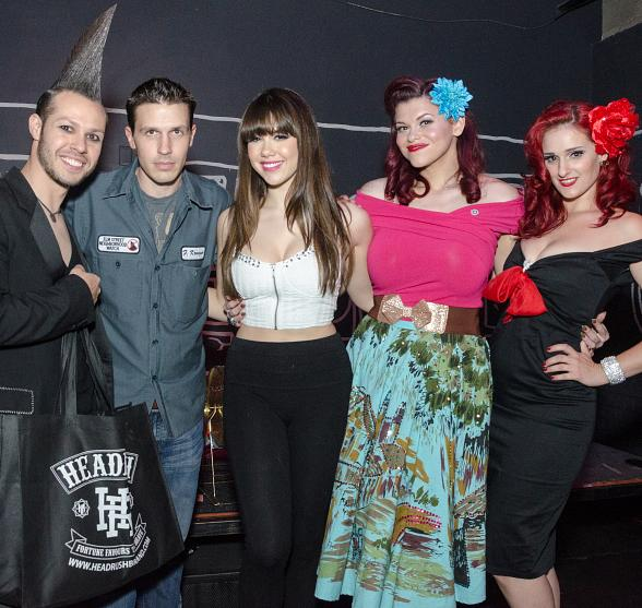 Pictured left to right: Radiant Inc owner Andrew Parker, Fright Dome owner Jason Egan, Claire Sinclair and Pinups for Patriots Nevada spokesperson Sarah Vamp.