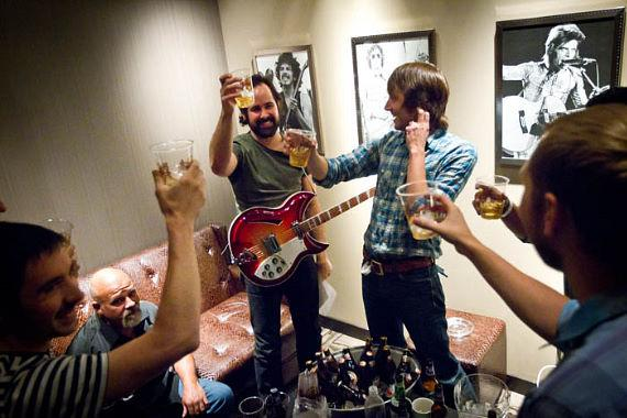 Ronnie Vanucci of The Killers launched his new side project, 'Big Talk' and is seen here backstage before they take the stage for their debut performance at Hard Rock Cafe on the Las Vegas Strip
