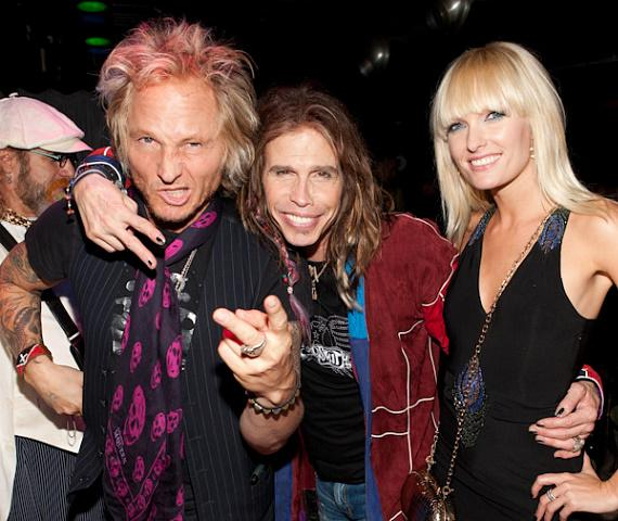 Guns N' Roses and Velvet Revolver drummer Matt Sorum, Steven Tyler and Ace Harper of Darling Stilettos