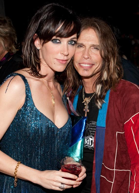Steven Tyler (right) and his girlfriend Erin Brady