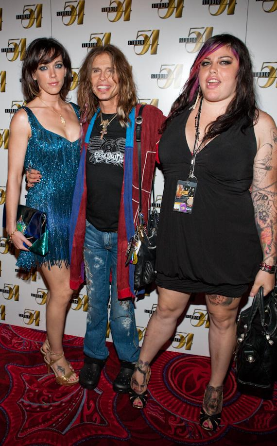 Steven Tyler (center), his girlfriend Erin Brady (left) and his Daughter Mia Tyler (right)