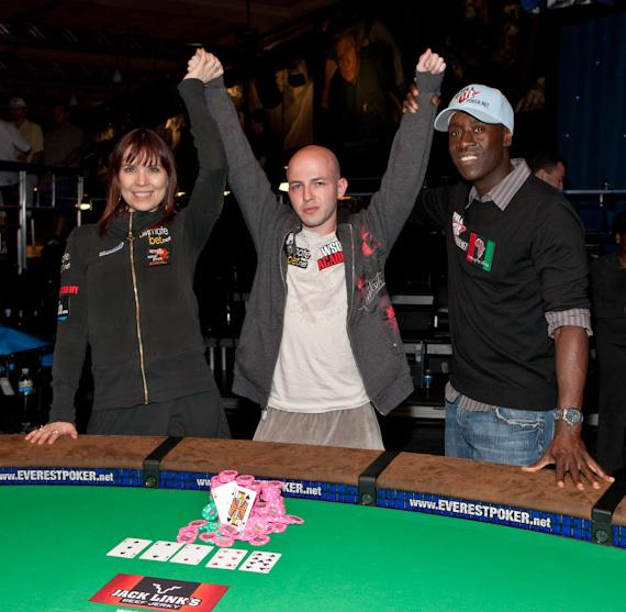 Annie Duke, Tournament Winner Alex Bolotin of Brooklyn, NY, and Don Cheadle