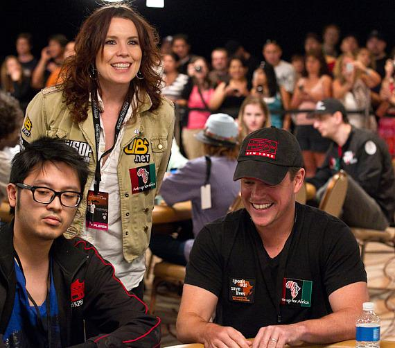 A player, Annie Duke and Matt Damon