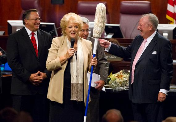 Mayor, Carolyn G. Goodman, presented Las Vegas City Councilman Steve Ross with a mop