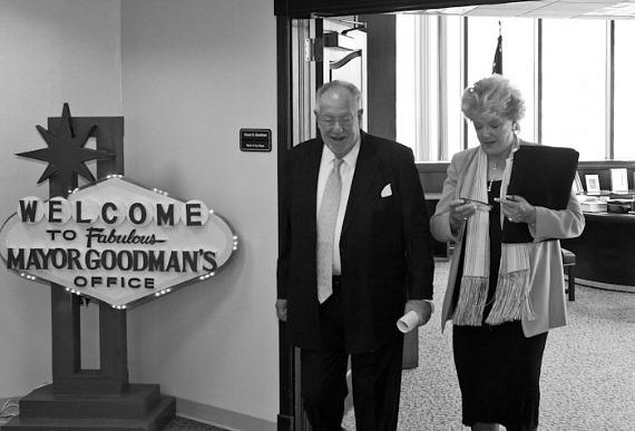 Mayor Oscar B. Goodman and his wife leave the office
