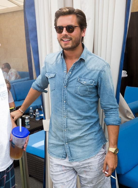 Scott Disick in his cabana at Sapphire Pool & Dayclub in Las Vegas