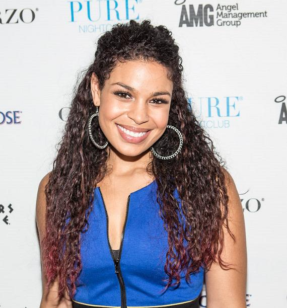 Jordin Sparks on red carpet at PURE Nightclub