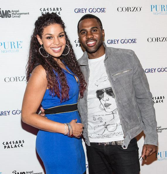 Jordin Sparks and Jason Derulo on red carpet at PURE Nightclub
