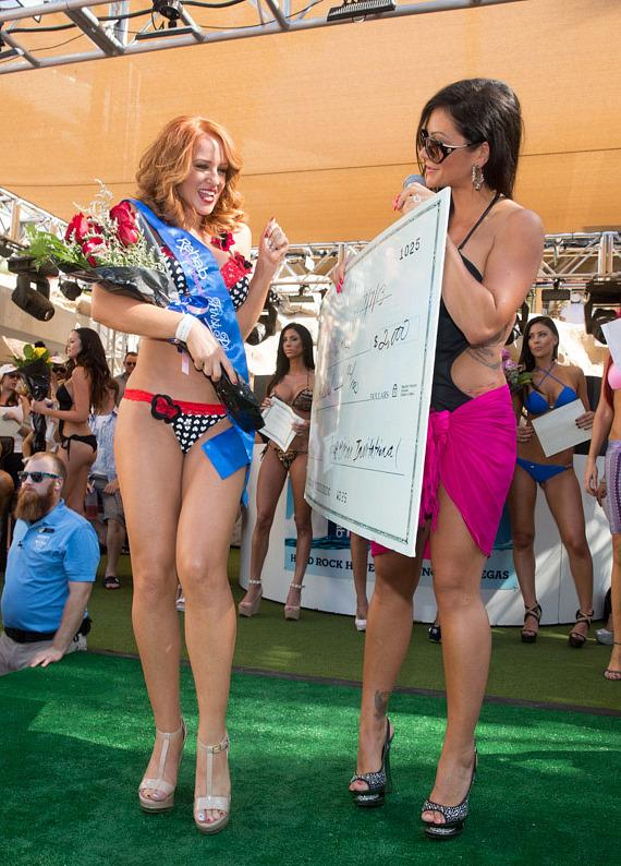 JWoww presents check to bikini contest winner