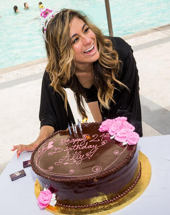 Ally Brooke Hernandez with birthday cake at Planet Hollywood Resort Pool in Las Vegas
