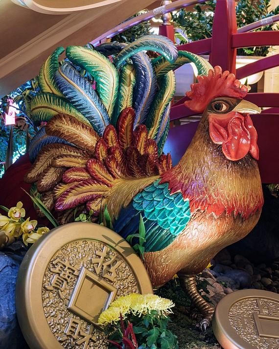 8 smaller roosters dot the installation throughout The Venetian and The Palazzo. They were each hand-carved and painted
