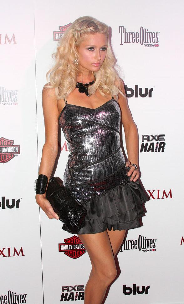 Paris Hilton on the red carpet at Maxim