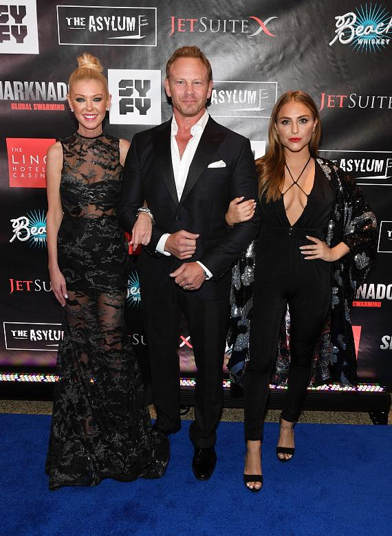 Actress Tara Reid, actor Ian Ziering and actress Cassie Scerbo attend the premiere of 'Sharknado 5: Global Swarming' at The LINQ Hotel & Casino on August 6, 2017 in Las Vegas, Nevada