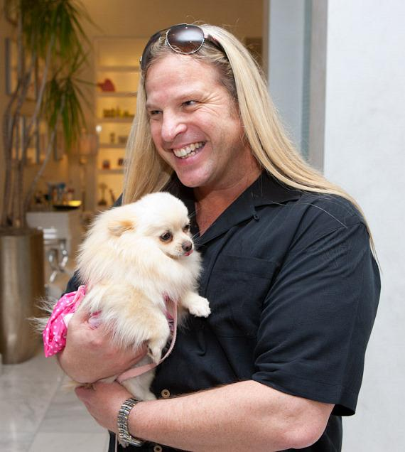 "Michael Boychuck with Paris Hilton's dog ""Marilyn Monroe"""
