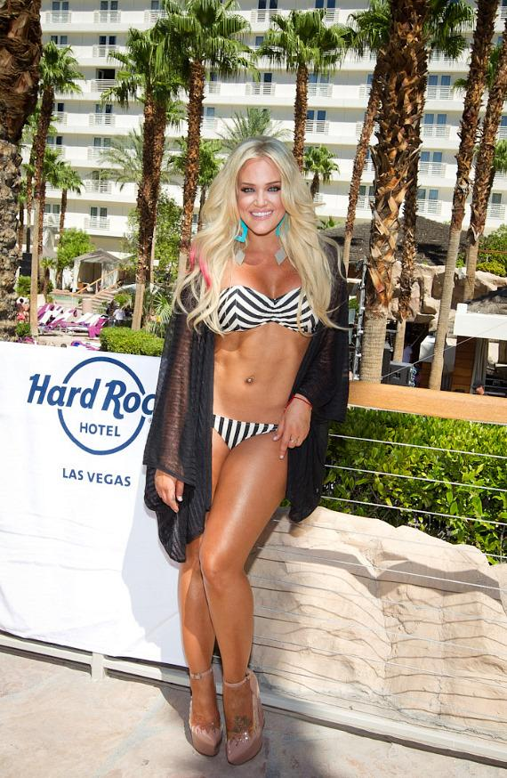 Pro Dancer Lacey Schwimmer Poses in Bikini at REVEL Pool Party at Hard Rock Hotel