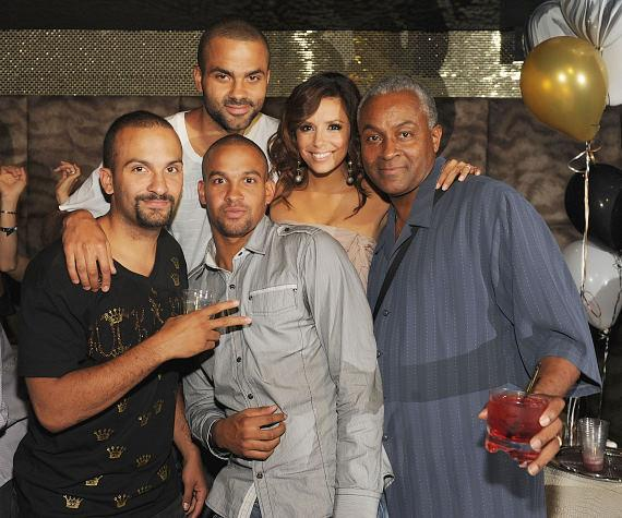 Tony with brothers Pierre and TJ, his father Tony Parker, Sr., and wife Eva Longoria Parker