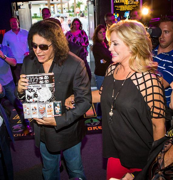 Gene Simmons and Shannon Tweed at KISS Monster Mini Golf in Las Vegas