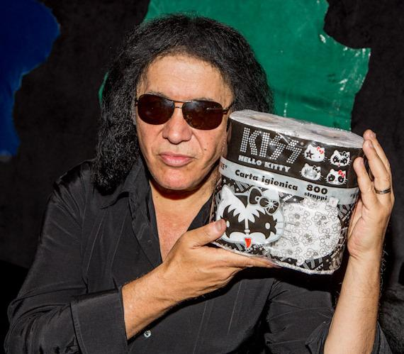 Gene Simmons with KISS Toilet Paper at KISS Monster Mini Golf in Las Vegas