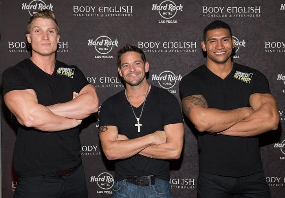 Jeff Timmons with cast members of his new male revue Men of the Strip