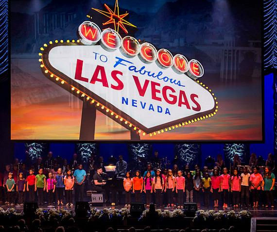 Frankie Moreno and Gilbert Magnet School Kids perform at the Nevada Sesquicentennial All-Star Concert