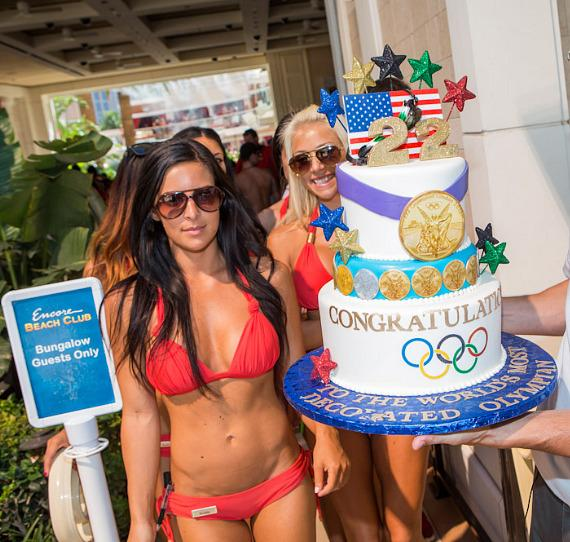 Michael Phelps' retirement cake is presented at Encore Beach Club