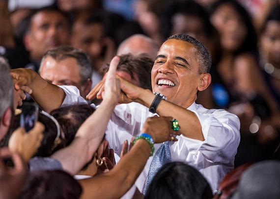 President Barack Obama makes one of his many stops in the battleground state of Nevada.